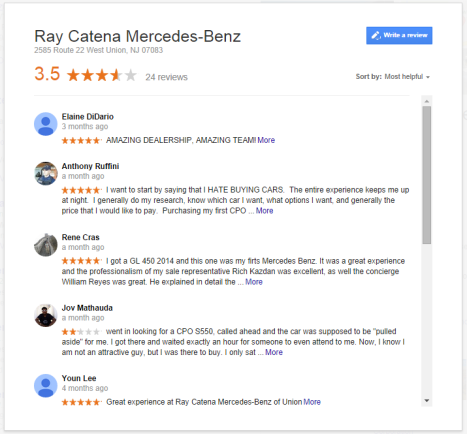 nj car dealership reviews
