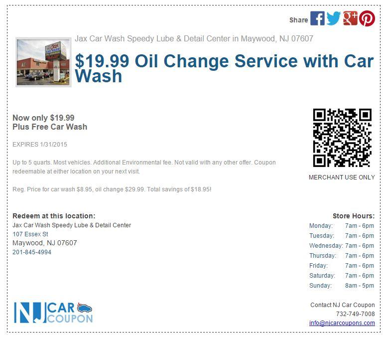 Jax Car Wash Oil Change